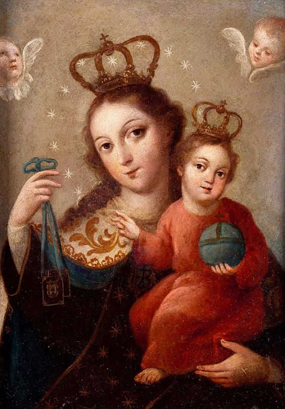 Virgen del Carmen escuela mejicana, s. XVIII