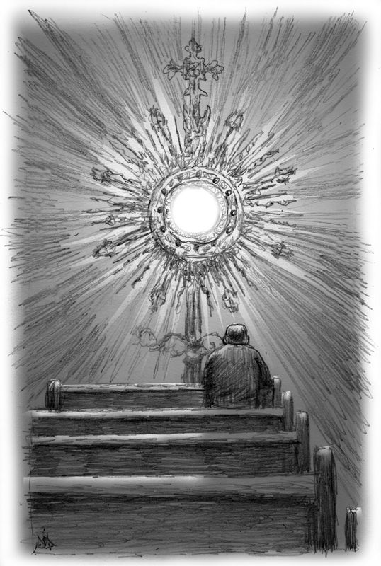 Adoration of the Blessed Sacrament, art illustration by Jennifer Rivera
