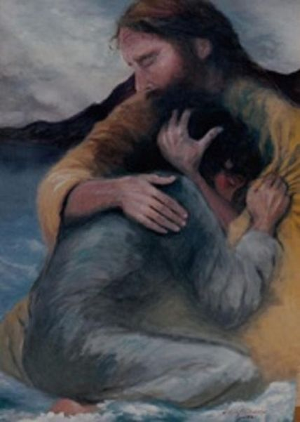 'Jesus comforting a girl in loving embrace', Art by Unknown Author