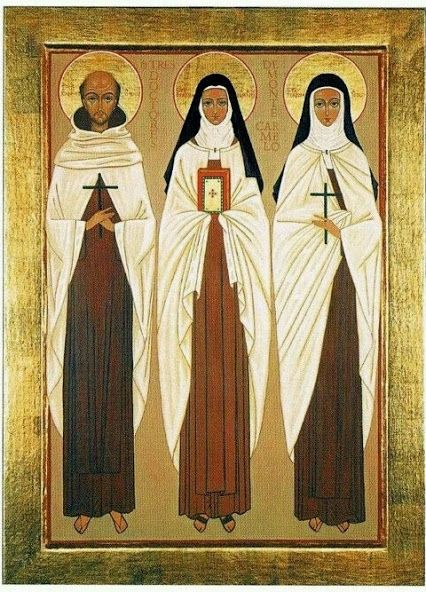 Icon of Saints John of the Cross, Therese of Lisieux and Teresa of Avila, Author Unknown