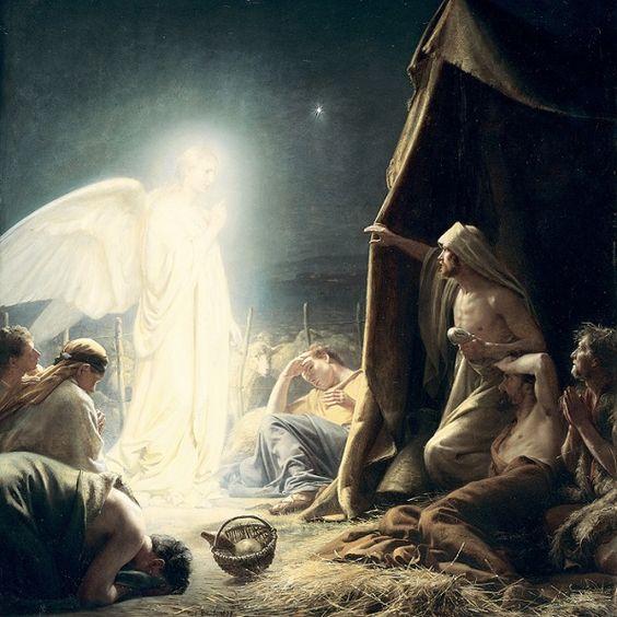 Angel to shepherds in the field ~ Art by Carl Bloch