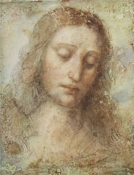 Head of Christ, art by Leonardo da Vinci 1495