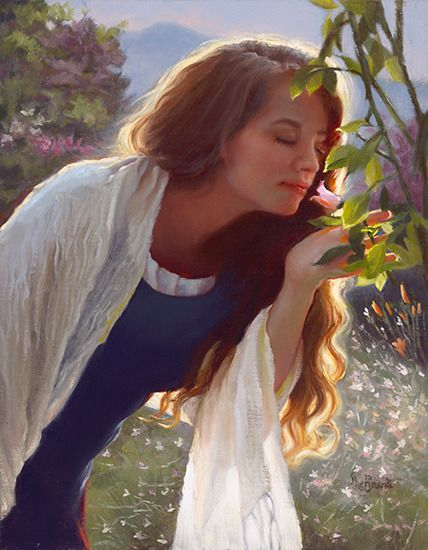 Woman and the Scent of a Rose art by Sheri Dinardi