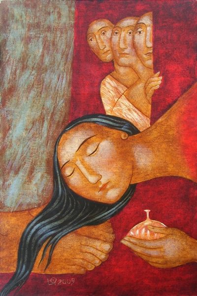 Mary of Bethany the unction of Christ art by julia stankova