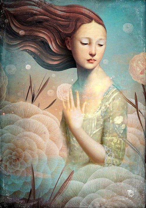 woman and the flowers art by Christen Schloe