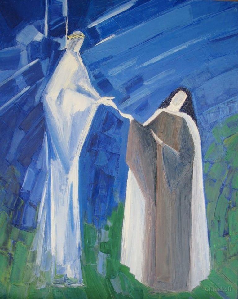Jesus and Saint Teresa of Jesus art by Maccha chmkoff