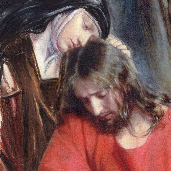 Carmelite nun with Jesus art by Carl henry Boch