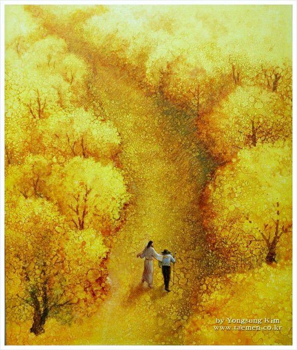 Jesus walking in the path