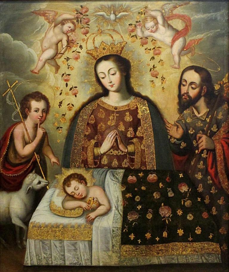 Baby Jesus EL SUEÑO DEL NIÑO Barroco Cusqueño Siglo XVIII Óleo sobre lienzo