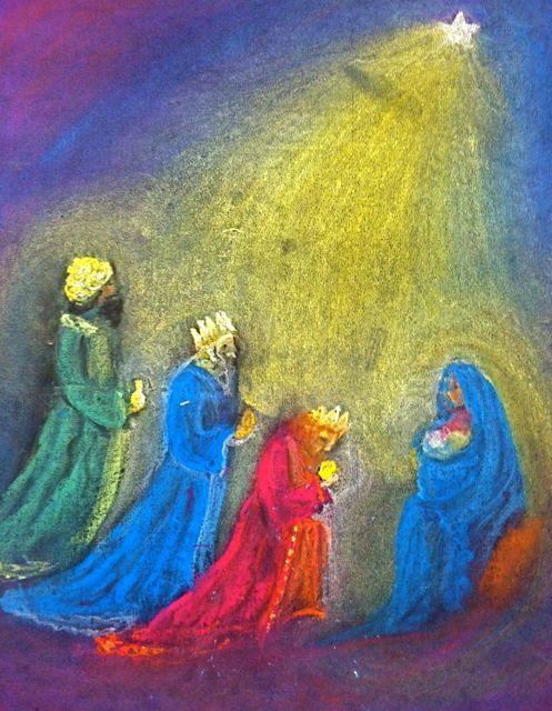 three kings with mary and baby jesus