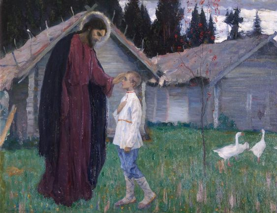 Christ blessing a child 1926 art by Mikhail Vasilevich Nesterov