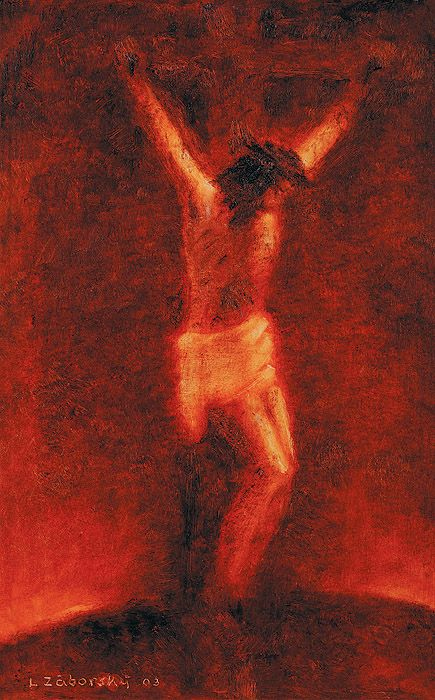 Jesus crucified art by Ladislav Zaborsky
