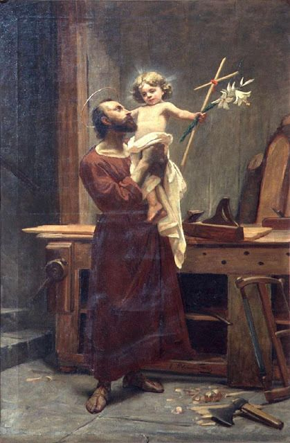 Saint Joseph and baby Jesus 1896