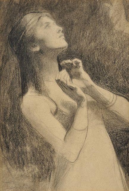 woman praying art by franz drovak 1900