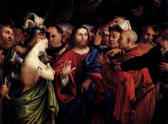 Christ and the woman taken in adultery art by lorenzo lotto