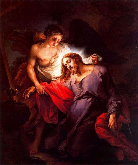 Jesus en oracion en el huerto