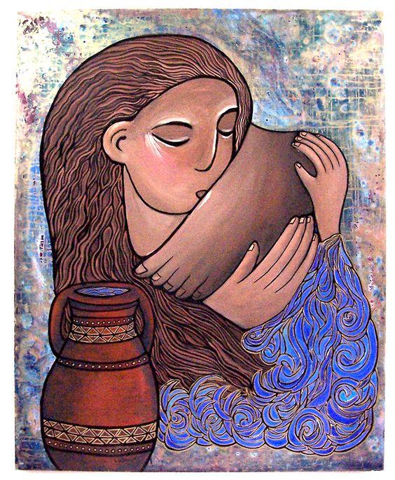 Mary of Bethanywashing of the feet art by gisele bauche