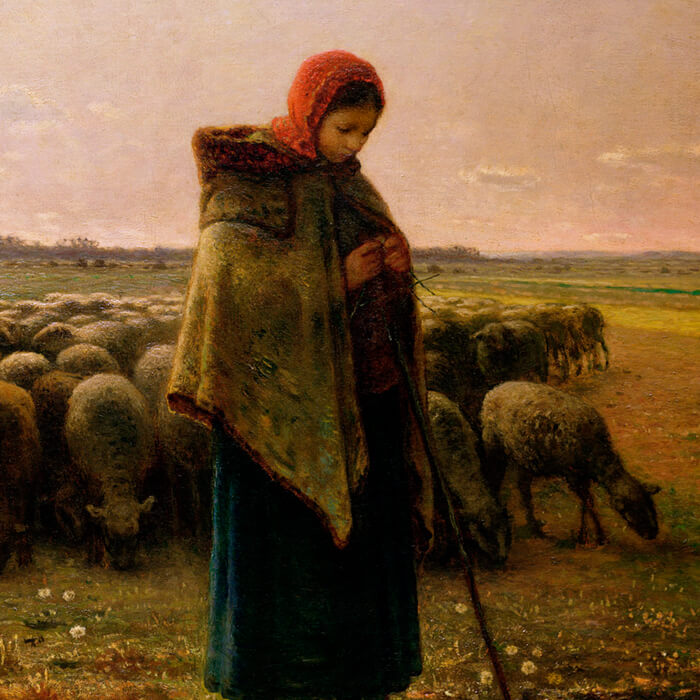 shepherdess with her flock