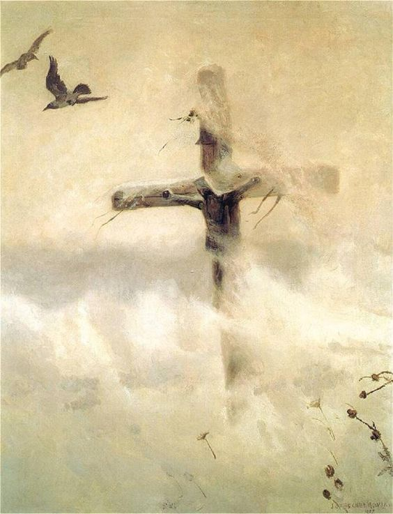 Cross in a blizzard art by jozef chelmonski 1907